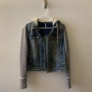 Free People Hooded Denim Jacket M